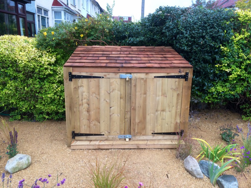 Cedar roof bespoke storage shed